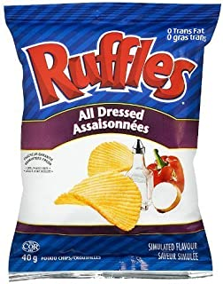 Lay's Ruffles Potato Chips, All Dressed, 40 Grams/1.4 Ounces - 12 Pack