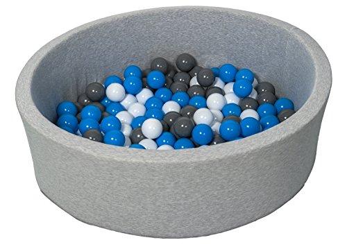 Velinda Bällebad Ballpool Kugelbad Bällchenbad Bällchenpool Kinder Pool mit 150 Bällen (Farbe der Bälle: weiß, blau, grau)