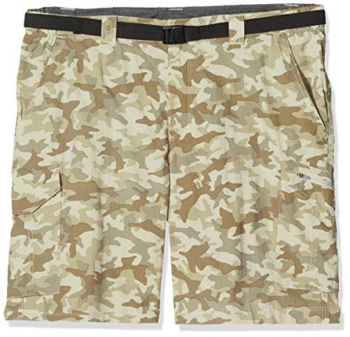 Columbia Silver Ridge, Pantalones cortos cargo de camuflaje, Hombre, Beige (Fossil Camo), Talla W36 L10