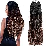 "Nu Faux Goddess Locs 24 Inch Crochet Hair Three Tone Long Soft Crochet Locs Braiding Hair 6 Packs Goddess Locs Crochet Hair Braid Pre looped Crochet Hair For Black Women(24"",T1B/4/30)"