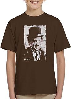 VINTRO Camiseta para niño con diseño de Charlie Chaplin Smiling Retrato original de Sidney Maurer con impresión profesional