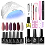 Beetles Purple Burgundy Red Gel Nail Polish Kit with 48W LED Nail Lamp Dryer Fall Winter Colors Gel Polish Starter Kit Peach Pink Manicure Set Soak Off Gel Polish Skin Tone Set Chirstmas Gift - Best Reviews Guide