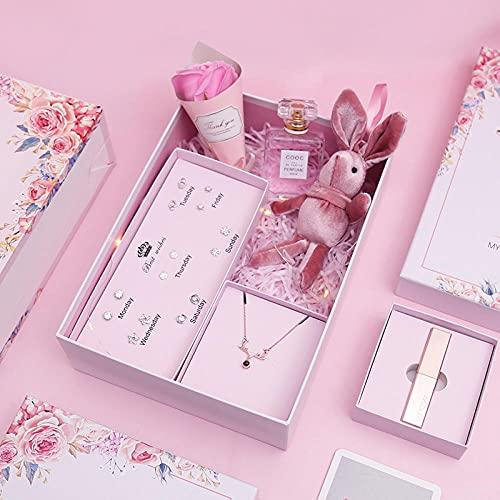 Ksnrang Siebentägige rote duftende Wasser Halskette Rose Seifenblume Geschenkbox Set Mädchen Weihnachten Eve Geschenk-7-tägige Ohrringe + Halskette + Single Baklink + Parfüm + Lange Geschenkbox