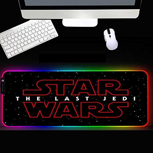 XIAOYANG Alfombrilla de goma RGB para ratón, accesorios para jugador, alfombrilla grande LED, XXL, con retroiluminación para ordenador portátil, 400 x 900 x 4 mm