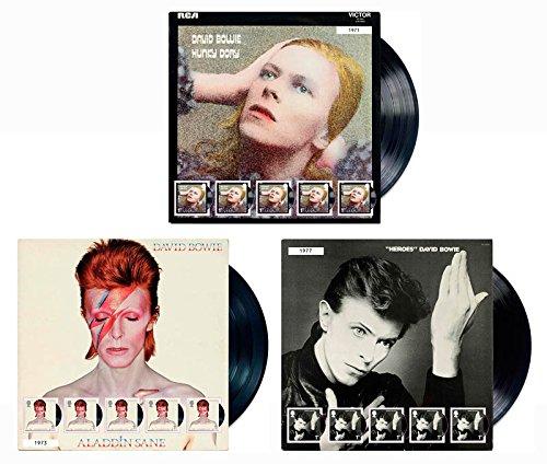 2017–Juego de 3sellos de David Bowie Edición limitada ventilador hojas de Álbum Covers; Aladdin Sane, héroes y Hunky Dory