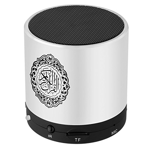 Hitopin Digital Quran Speaker FM Radio Silver Color with Remote Control Over 18Reciters and15 Translations Available Quality Qur