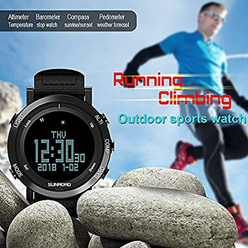 SUNROAD Men's Smart Digital Barometer Compass Altimeter Sports Watch with LED Screen Large Face Altimeter Watches & Waterproof Casual Luminous Stopwatch Pedometer Wristwatch (Black) 9