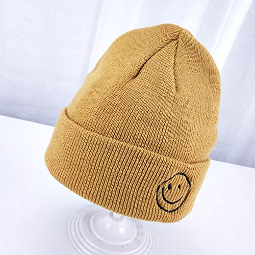 mlpnko Kinder Hut Smiley Strickmützen Jungen und Mädchen süß Candy Farbe Baby Wollmütze Ingwer 44-52cm