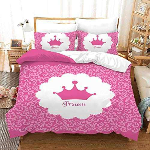 Duvet Cover Set -Pink And White Princess Style - 3 Pieces Printed Bedding Quilt Cover with Zipper Closure Students for Bedding Decor, Ultra Soft Microfiber Comes with 2 Pillowcases 78.7 X 78.7 inch