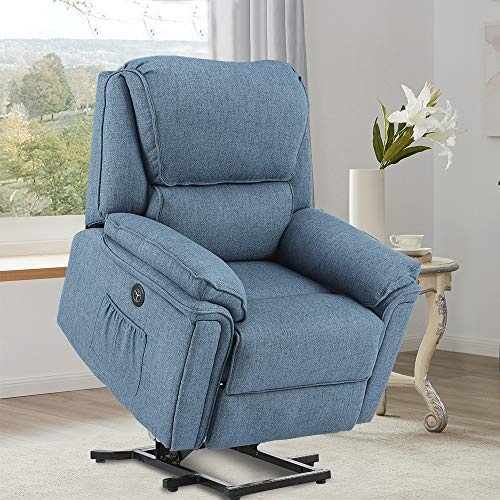 Power Lift Recliner Chair for Elderly Electric Heated Vibration Lumbar Massage Wide Seat Ergonomic with Side Pockets USB Charge Port Massage Remote Control Fabric (Blue)