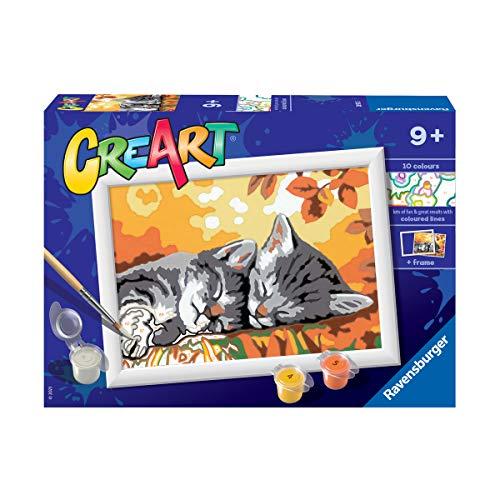 Ravensburger CreArt Gatitos en Otoño, Kit de Pintura, Pintar por Números, Juego Creativo para Niños y Niñas, Edad Recomendada 7+