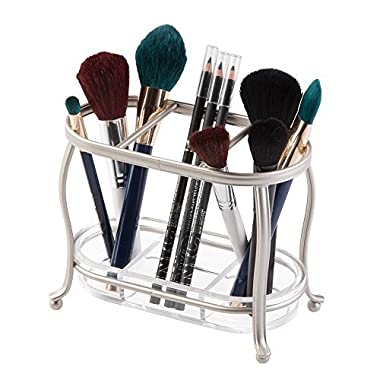 mDesign Decorative Makeup Brush Storage Organizer Tray Stand for Bathroom Vanity Counter Tops, Dressing Tables, Cosmetic Stations - 3 Sections with Removable Bottom Tray - Satin/Clear