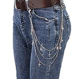 Cadenas Pantalones,Cadena Cintura,Llavero,Cadena de cinturón de Cartera de Metal de Plata Soild Hiphop Gothic Rock Punk Biker Jeans Pantalones Cruces Cadena de Cintura Llavero Pesado para Hombres