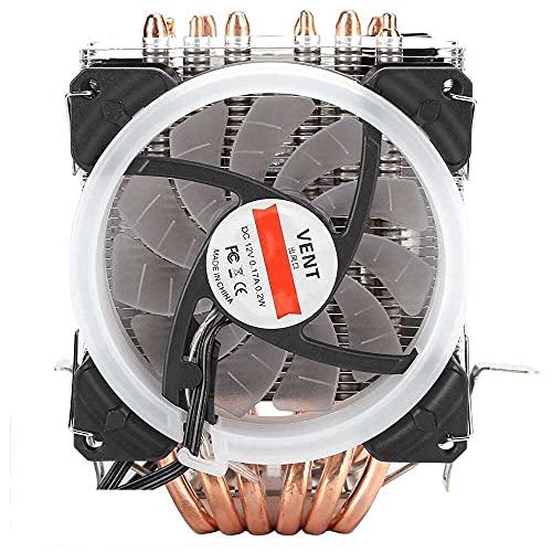 Yuyanshop Ventilador de refrigeración de CPU, 2000 RPM 40 CFM 6 tubos 3RGB Ventilador 4 pines CPU Cooler Ultra-Quiet CPU disipador de calor CPU Radiador para Intel775 1150 1151 1155 1156 1366 para AMD