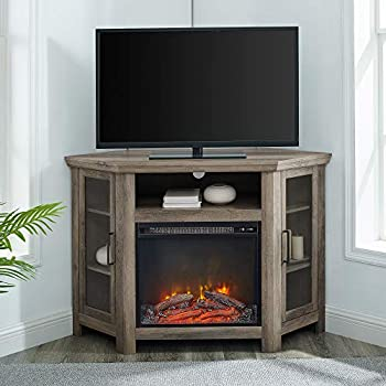 Walker Edison Alcott Classic Glass Door Fireplace Corner TV Stand for TVs up to 55 Inches 48 Inch Grey Wash