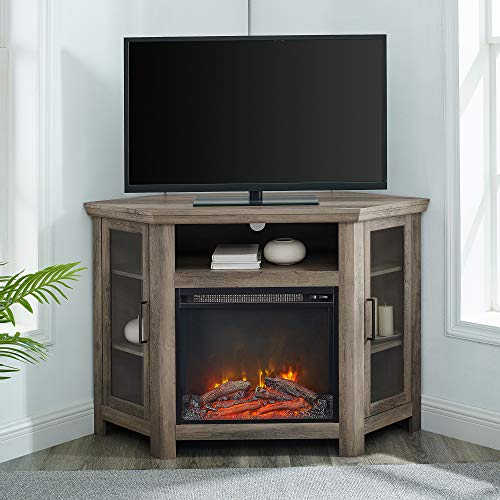 Walker Edison Alcott Classic Glass Door Fireplace Corner TV Stand for TVs up to 55 Inches, 48 Inch, Grey Wash