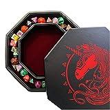 Fantasydice - Rojo - War Unicron - Almacenamiento de dados y bandeja rodante - octágono de 20 cm con tapa y zona de dados - Capacidad para 5 juegos (7 dados juegos/estándar) para todos los RPG de mesa