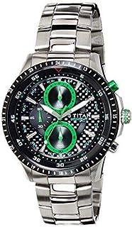 ساعة تيتان اوكتان للرجال بمينا اسود وبسوار ستانلس ستيل - 9496Km01J