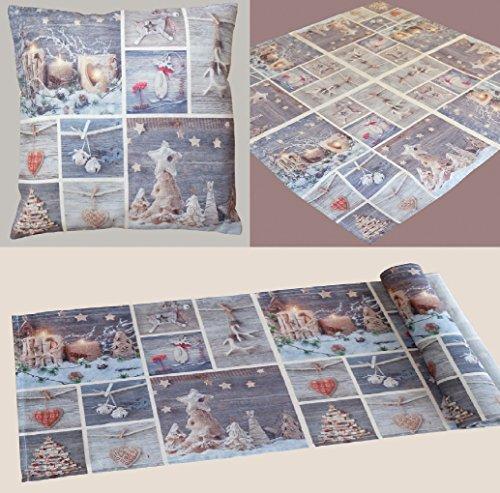 Navidad Patchwork Impresión Fotográfica liebevolle Serie de Funda de cojín Mantel y camino de mesa en aspecto de...