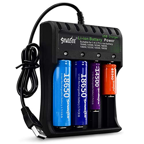 18650 Battery Charger for Rechargeable Li-ion Charger 4-Bay and USB Smart Universal 4 Slot Battery Charger for 10440 14500 16340 18650 26650 18500 17670 (Not Battery)