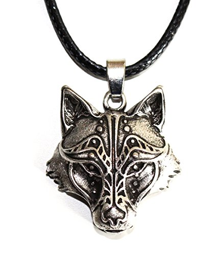 Collar Cabeza de Lobo - Zorro - Joyas Vikingas - Tótem Animal de Coraje y Fuerza - Símbolo Tribal Caza de Runa Celta - Regalo Original Unisex Masculino Mujer