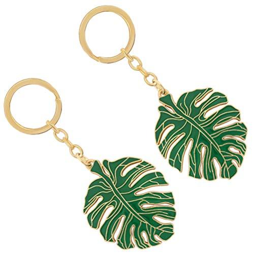 PRETYZOOM 2pcs Leaves Keychain Tropical Leaf Keyrings Leaf Car Key Holder Plant Bag Purse Jewelry for Woman Girls Handbag Key Hanging Pendants