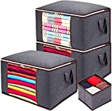Anyoneer Clothes Storage Bags,Panties and Socks Organizer,Sturdy Handles,Stainless Steel Zipper, Extra Large Capacity for Comforters,Bedding,Blankets and Clothing, 4 Pack, 24 Gallon, Gray