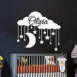 sanzangtang Adhesivo Nombre Personalizado Etiqueta de la Pared Etiqueta de la Nube niña Vinilo Adhesivo niños Dormitorio decoración de la habitación 87x97cm