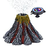 Uniclife Aquarium Volcano Decoration Ornament with Multi Color LED Light Air Stone Bubbler 5 ft. Airline Tubing Kit for Fish Tank