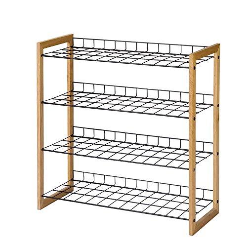 PYROJEWEL 4 Niveles armario Shelf Organizador, hierro forjado almacenamiento combinación zapato hogar bastidor de 4 capa bastidor sencillo zapato, del organizador del almacenaje - madera natural Zapat