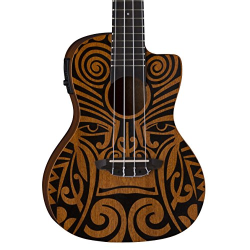 Luna Tribal Concert Cutaway Acoustic/Electric Ukulele with Preamp, Satin Natural