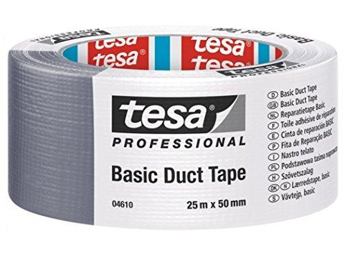 Tesa - Nastro adesivo Basic 4610, 25 m x 50 mm, colore: argento