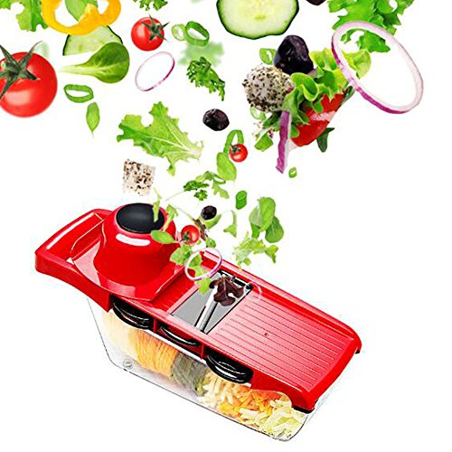 LeRan Salad Cutter alimentaire Chopper légume fruits main mélangeur trancheurs avec récipient un professionnel cuisine outils adaptés à toutes vos coupes (rouge)