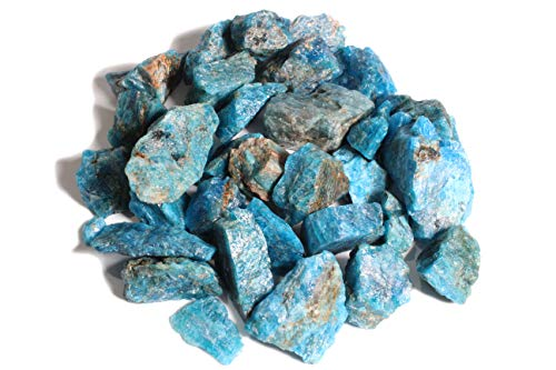 Dey Designs 1/2 LB Blue Apatite Rough Stones Natural Raw Stones & Fountain Rocks for Tumbling, Cabbing, Healing Crystals, Polishing, Wire Wrapping, Wicca & Reiki Crystal Healing