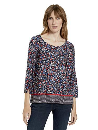 TOM TAILOR Damen Blusen, Shirts & Hemden 3/4-Arm Bluse mit Blumenprint Navy Flower...