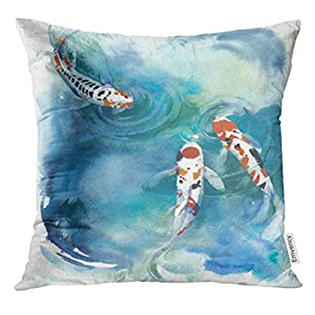 UPOOS Throw Pillow Cover Colorful Koi Fish Japanese Symbol in The Pond Watercolor Painting Orange Water Animal Decorative Pillow Case Home Decor Square 18x18 Inches Pillowcase