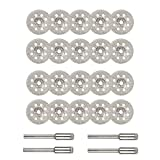 Saipor 20 discos de corte de diamante de 22 mm con mini disco de corte circular de diamante con 4 unidades de mandril de 3 mm para herramientas rotativas Dremel
