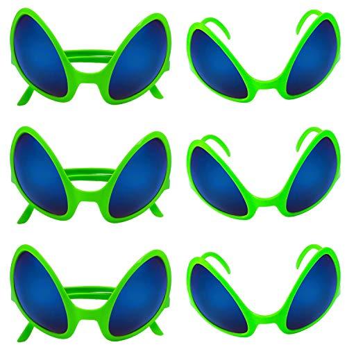Beelittle 6 Stück Alien Kostüm Brille Neuheit Alien Maske Sonnenbrille für Erwachsene und Kinder Halloween Party Photobooth Requisiten Party Supplies Zubehör Dekoration Geschenk (Grün)