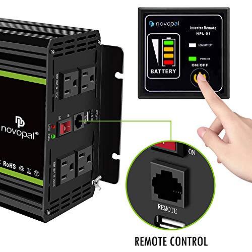 Novopal 1500 watt Pure Sine Wave Power Inverter DC 12V to 110V/120V Converter 4 AC Outlets Car Inverter with USB Port 16.4 Feet Remote Control and LCD Display Dual Cooling Fans Inverter for CPAP RV