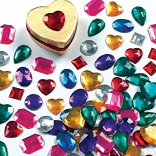 Baker Ross Large Self Adhesive Acrylic Gems (Pack of 120) Multicoloured Embellishments for Kids Arts and Crafts, Assorted