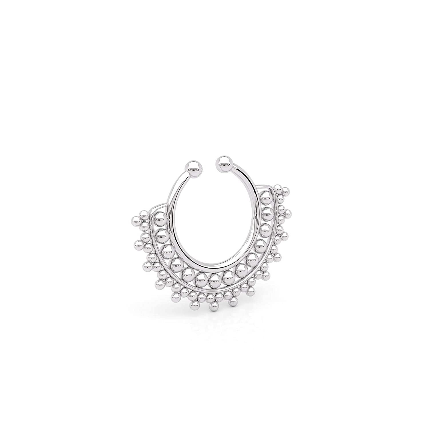 Tiny Fake Septum Safety and trust Nose Ring Sterling On Silver Faux Tribal Clip 2021 autumn and winter new