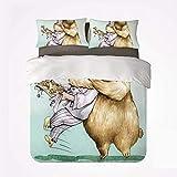 Conjunto de funda nórdica de dibujos animadosCálido juego de 3 sábanas, Big Bear abraza completamente a los animales de pastelería, amor, humor, sátira, romance, tema artístico para la habitación
