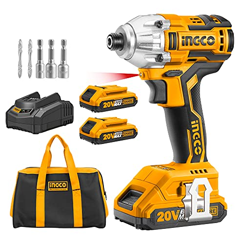 INGCO Brushless Impact Driver 20V Li-Ion Cordless Impact Driver with 2pcs 2.0Ah Batteries, 1pcs Charger, 1/4 Inch, 170NM CIRLI20023
