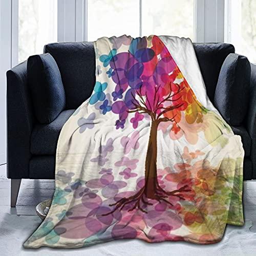 KENADVI Manta de forro polar de franela, multicolor, con diseño de árbol primaveral con mariposas,...