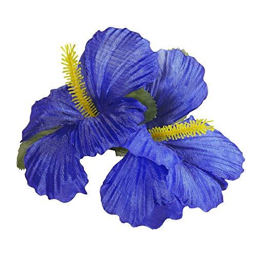 Widmann 1848B - Haarspange, mit 2 blauen Hibiskus Blumen, Haarclip, Haarschmuck, Hawaii, Mottoparty, Karneval