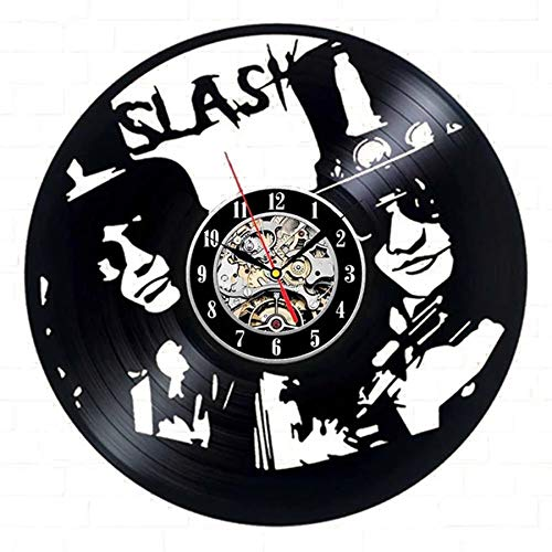 LKJHGU Modern design vinyl record wall clock music theme 3D rock band vinyl record wall clock living room bedroom decoration
