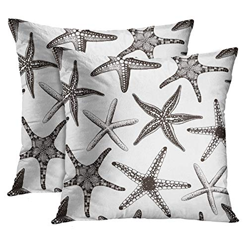 Emvency Set of 2 Throw Pillow Covers Beach Ocean Coastal Black Starfish Decorative Pillow Cases Home Decor Standard Square 18x18 Inches Summer White Pillowcases