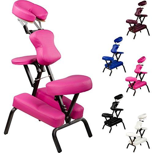 Movit® Klappbarer Massagestuhl/Tattoo Stuhl inkl. Tasche, belastbar bis 200 kg, Farbwahl, schadstoffgeprüft, Farbe Pink