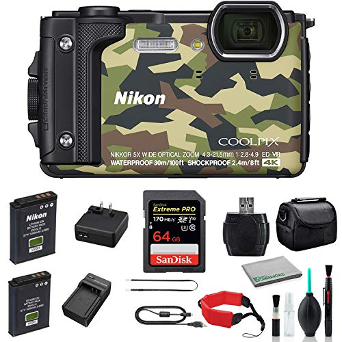 Nikon COOLPIX W300 Waterproof Underwater Digital Camera Bundle with 64GB Memory Card + Spare Battery + Travel Charger + More (Camouflage)
