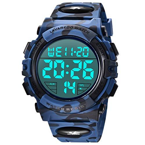 Relojes, Reloj Digital para Hombres, 50M Cronógrafo Impermeable para Exteriores Relojes Deportivos para Hombres con retroiluminación LED y Alarma Azul